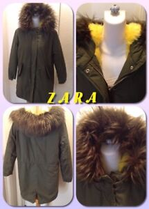 top-rated original the latest new images of Details about Zara Girls Outerwear Collection Hooded Yellow FAUX FUR LINED  PARKA Size 13/14