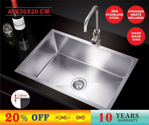 450X300X200 Handmade Stainless Steel UnderTopmount Kitchen Laundry Sink