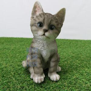 Katze-Kaetzchen-grau-getigert-Figur-Statue-Skulptur-Deko-Gartenfigur-Fan-Artikel