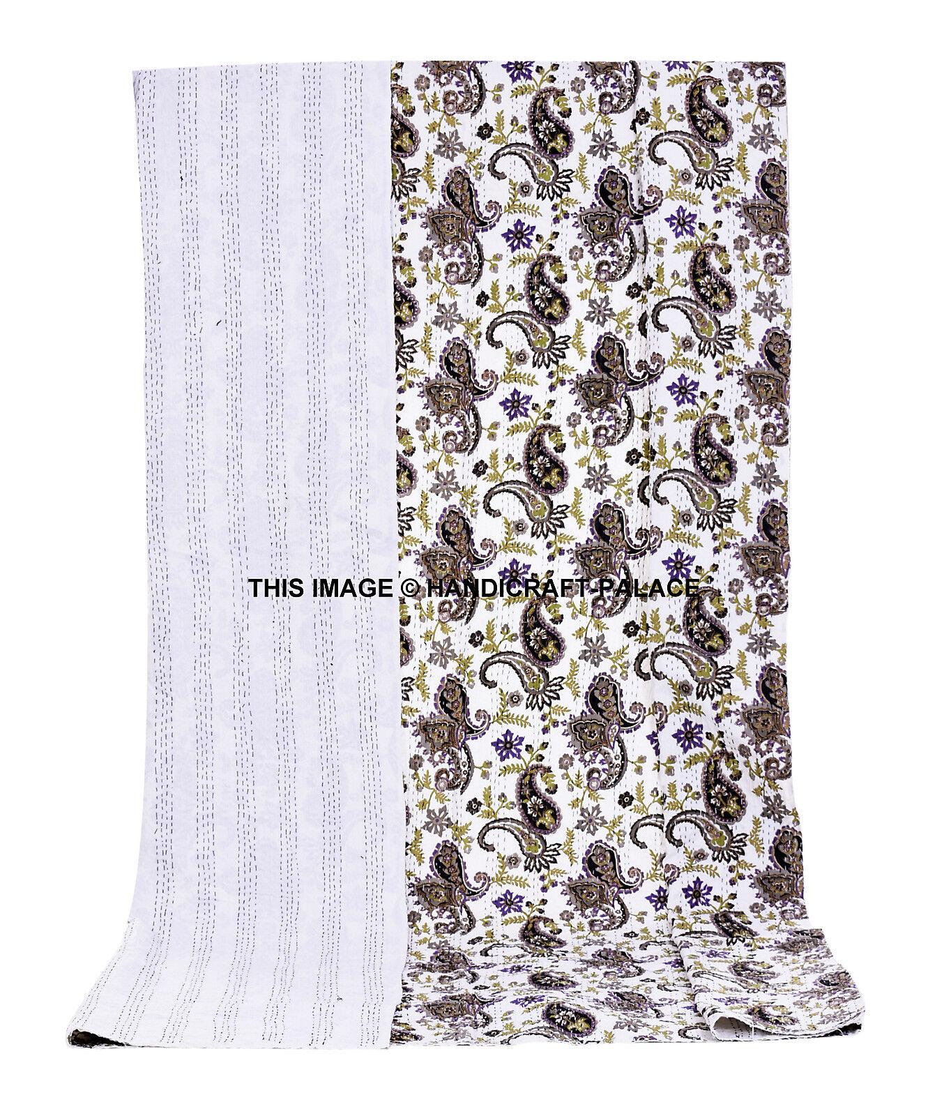 Indian Quilt Paisley Printed Kantha Bedspread Cotton Throw Weiß Queen Blanket
