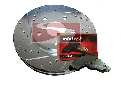 REAR Drill Slot Brake Rotors POSI QUIET Ceramic Pads for S60R V70R 04-07