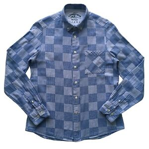 BARBOUR-LaundryMan-Blue-White-Patchwork-Check-Long-Sleeve-Fitted-Shirt-Size-S