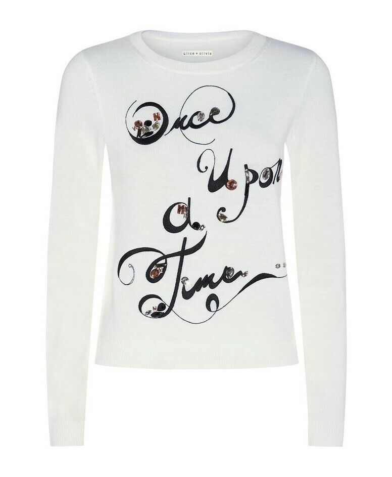 Alice + Olivia Once Upon A Time Sweater Wolle Knit oben Weiß Größe S NWT