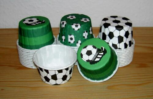 "Papier-Backform//Crinkle Cups f Muffins ohne Muffinsblech ""FUSSBALL"" mini 36 Stk"