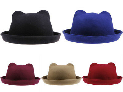 Adults Kids Women Girls Children Bowler Hats Derby Cap Cloche Wool Sunhat Bucket
