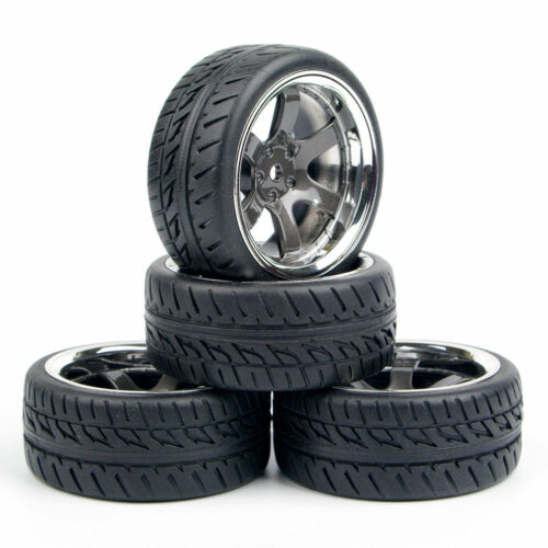 US 4Pcs RC 1:10 tyre Tires/&Wheel Rim 12mm Hex For HPI HSP On Road Racing Car