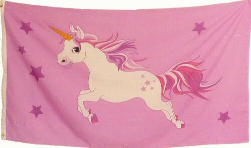 Flagge Einhorn Rosa Mädchen Motiv 1,5x0,9m Deko Fahne Neu Unicorn