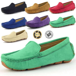 Boy-039-s-Slip-On-Casual-Loafers-Round-soft-Toe-Flats-Genuine-Suede-Shoes
