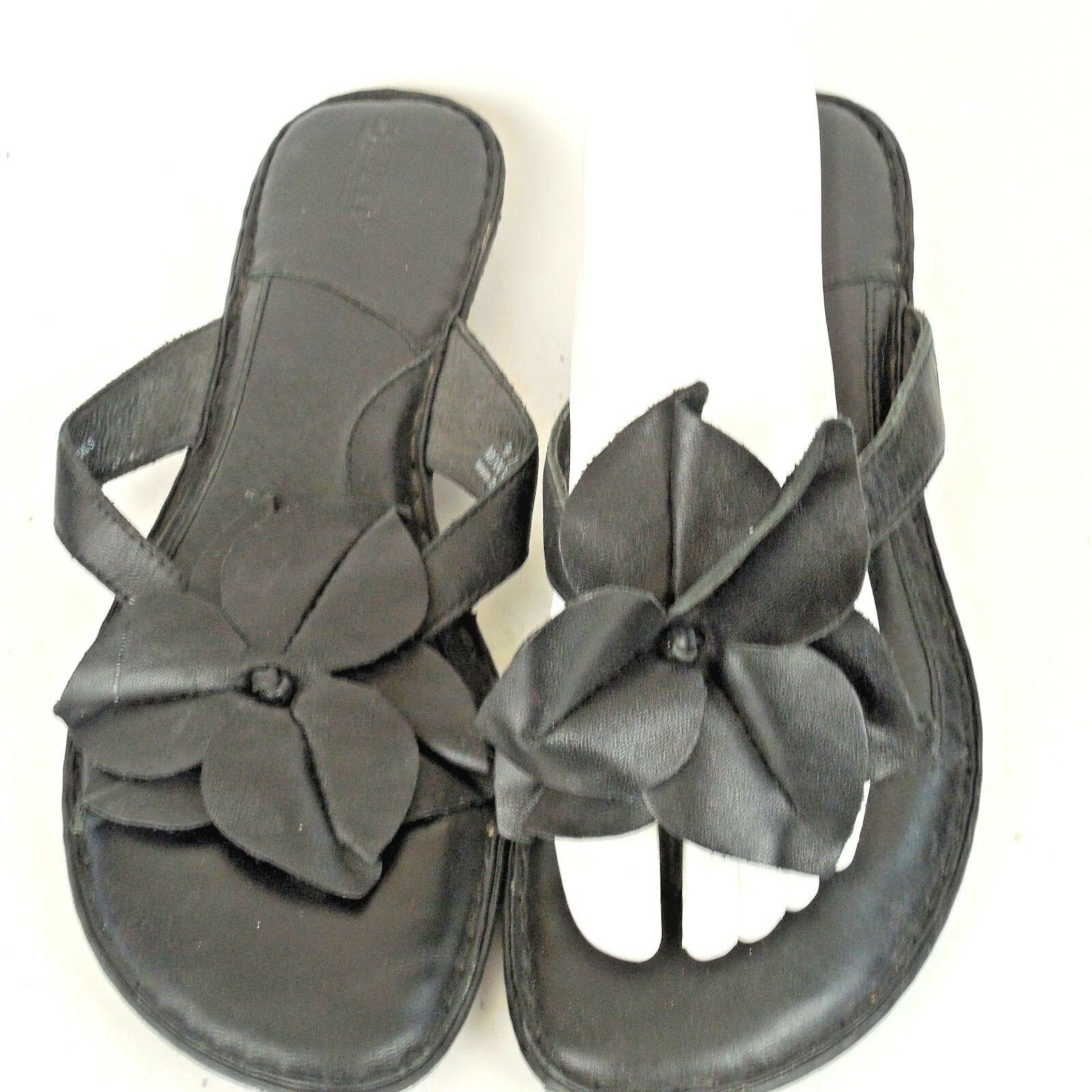 BORN Black Leather Flower Slip Sandals On Flip Flop Thong Sandals Slip Women 9 M Slides 612aa3
