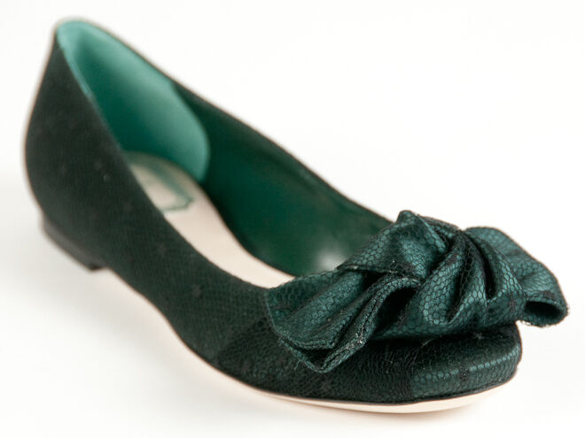 New  Christian Dior Dark Green Satin Upper Ballerina Shoes 35 US 5