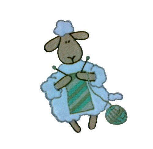 1 x Cartoon Funny Sheep Knitting Sew /'n/' Iron On Motif Patch