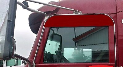 PETERBILT 337 348 5 INCH STAINLESS STEEL RAIN GUARD CHOP TOP WINDOW TRIM P-1068