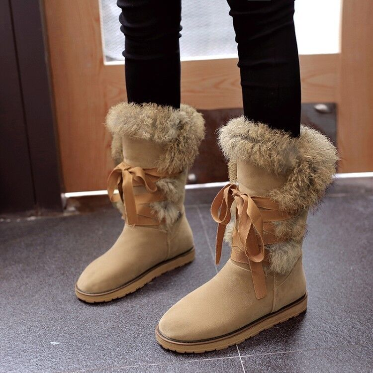 Ladies Fur Lined Lace Up Winter Snow Faux Suede Flat Mid Calf Boots Warm shoes