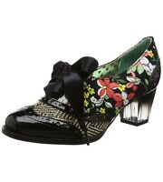 NEW IRREGULAR CHOICE/POETIC LICENCE *CORPORATE BEAUTY* BLACK FLORAL LOW HEELS