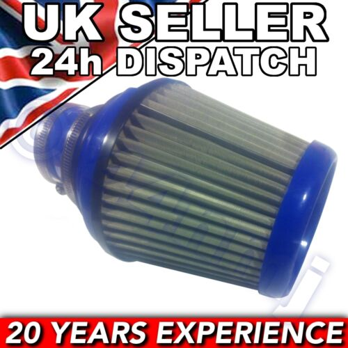 """Large Blue and Silver Cone Performance Air Filtre 3/"""" 76 Mm For Toyota Vauxhall VW"""