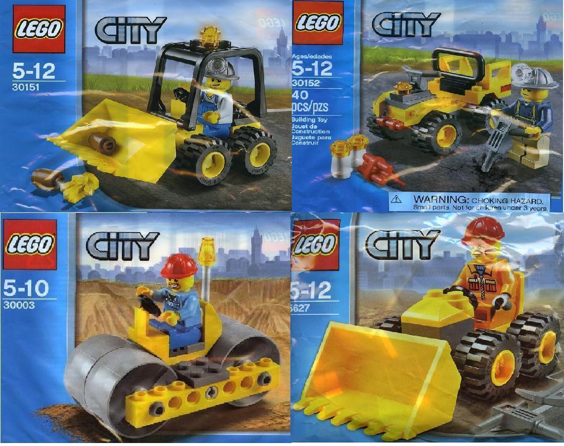 4x LEGO CITY costruzione BULLDOZER + quad + rullo + escavatore 30151 30152 30003 5627