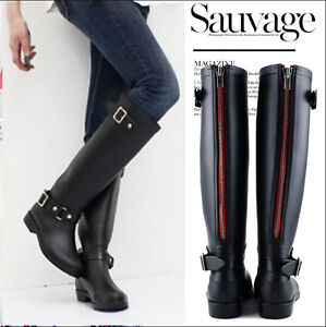 Womens Black Rain boots Flat Wellies Waterproof Knee High Mid Calf ...