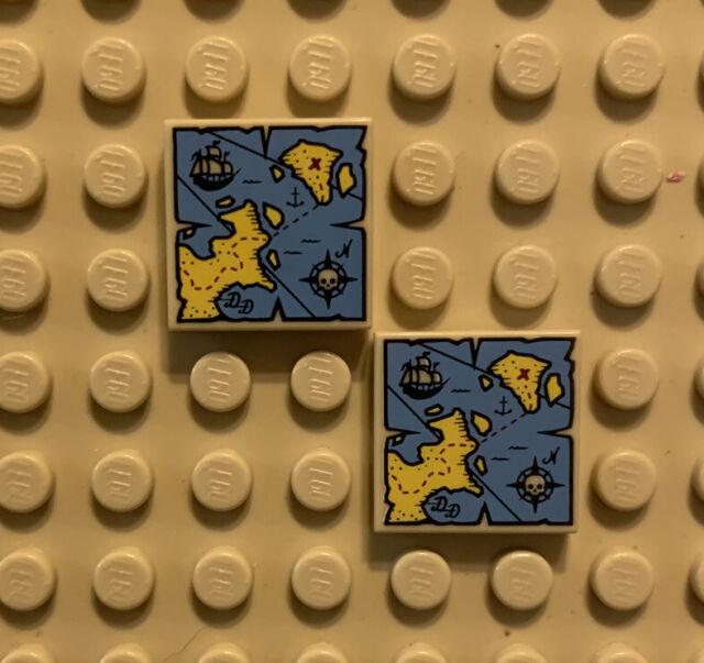 Lego 2x Tile decorated 2x2 carte Map Heartlake City Bay friends 3068bpb0902 NEUF