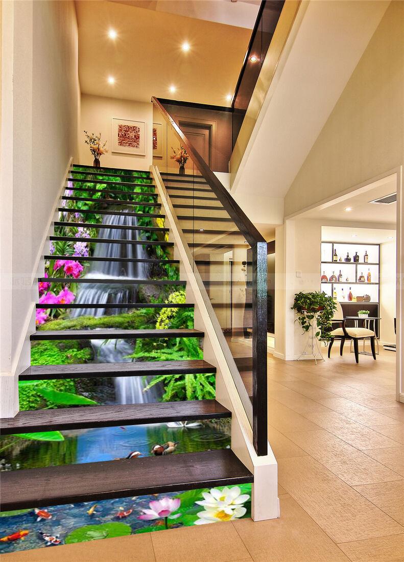 3D Flowing Grün 6 Stair Risers Decoration Photo Mural Vinyl Decal Wallpaper UK