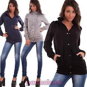 Felpa-donna-giacca-zip-bottoni-giacchetto-cappuccio-giubbino-elastic-nuova-PX028