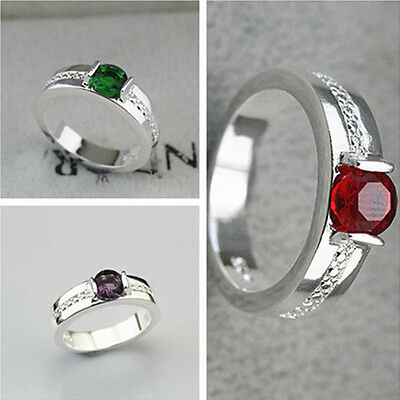 925 Solid Sterling Silver Plated NEW Women Fashion Zircon Ring Gift SIZE 8 HR485