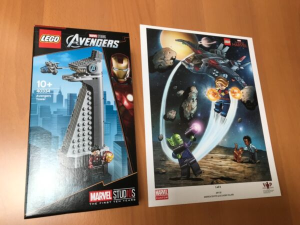 En Herbe Lego Marvel Avengers (40334) Avengers Tower (brand New & Sealed) & Vip Poster