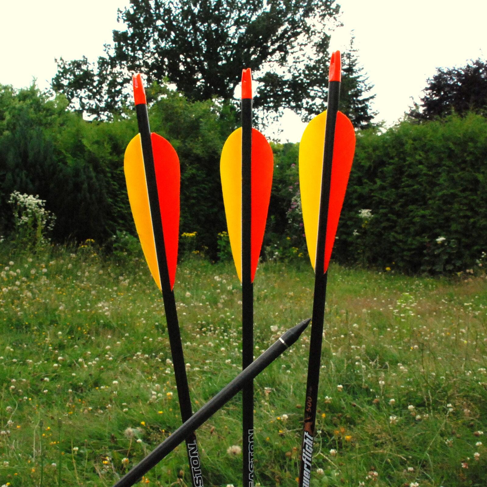 6 Carbonpfeile Easton Powerflight mit Naturfedern