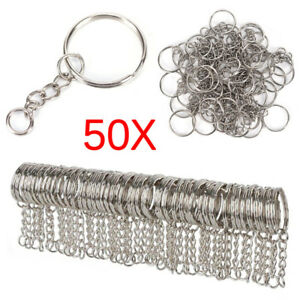 50x-25mm-Polished-Silver-Keyring-Keychain-Split-Ring-Short-Chain-Key-Rings-DIY-H