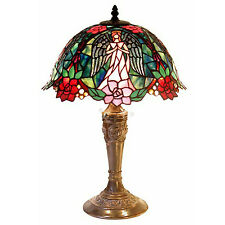 Tiffany-Style Table Lamp Pink & Red Roses Jewel Stained Glass Shade Copper Base