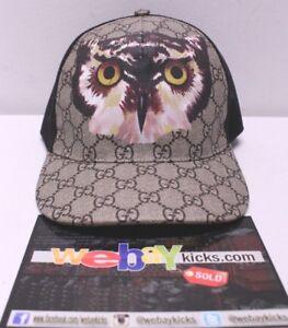 7b234827282 Gucci GG Logo Print Owl Mesh Beige Black Snapback Baseball Cap Hat ...