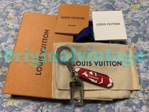 🔥LOUIS VUITTON x SUPREME POCKET KNIFE KEYCHAIN RED LV MONOGRAM BOX ... abd52c407ea