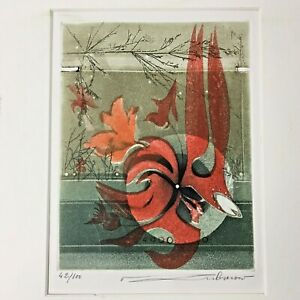 Abstract French Artist Renee Lubarow Etching Signed 42/100 Red Orange Earth Tone