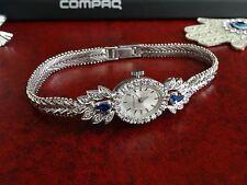 Vintage Hislon Silver Coin Winding Ladies Watch w/ 34 Diamonds & 2 Lab Sapphires