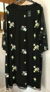 ☆ m&s Sammlung Mesh Overlay Bestickt Detail Dress ☆ Plus Size 30 ☆ mit Etikett! ☆