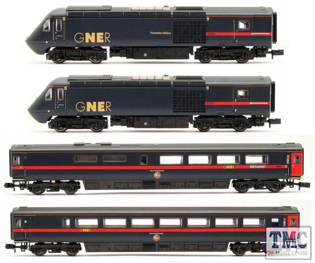 2D-019-008 Dapol N Gauge Class 43 HST GNER azul 43106 109 4 Coche Set
