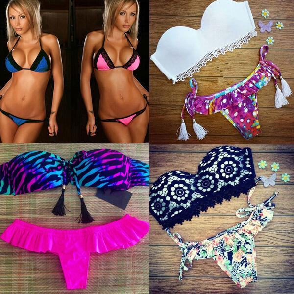 Sexy Womens Beach Bikini Set Push-up Swimwear Suit Lace Pucker Butt Bra+G-string