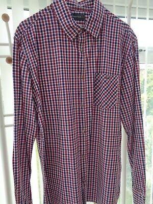 # Mans Blue Check Camicia Rossa Da Officers Club Taglia Large-mostra Il Titolo Originale Vivace E Grande Nello Stile
