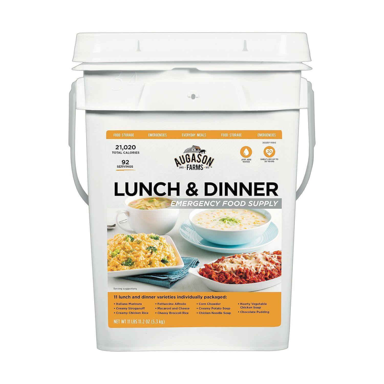 Augason Farms Lunch & Dinner Emergency Food Supply 4 Gallon Pail Kit