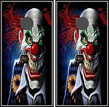 C16 Evil Clown Cornhole Board Wrap LAMINATED Wraps Decals Vinyl Sticker