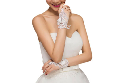 Short Lace Floral Rhinestone Bowknot Fingerless Wedding Party Bridal Gloves
