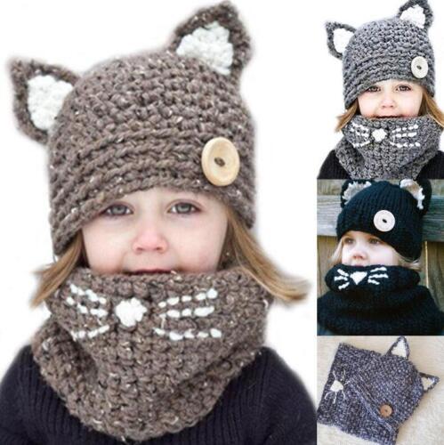 Cute Baby Toddler Winter Cat ears Warm Hat Hooded Scarf Earflap Knitted Cap Kids