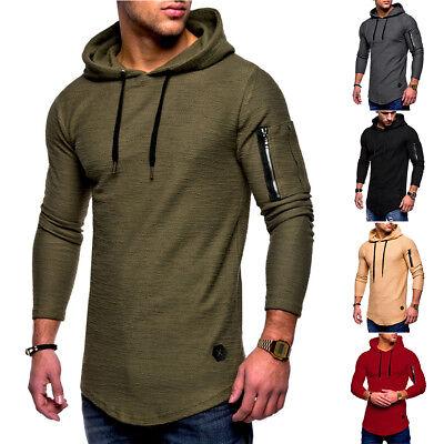 Mens Long Sleeve Hoodie Hooded T-Shirt Slim Fit Tee Muscle Casual Tops Blouse