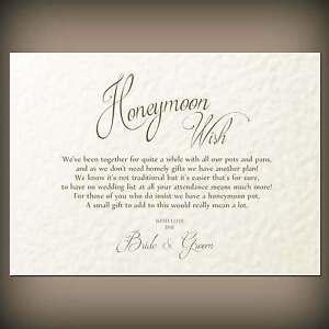 Image Is Loading 10 Honeymoon Wish Cards Cash Gift Poems White