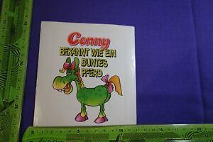 Alter-Aufkleber-CONNY-bekannt-wie-ein-buntes-Pferd