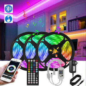 50FT Music Sync Bluetooth with Remote 15M 5050 LED Strip Lights Color Changing
