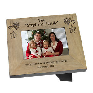 Christmas Family Name Wooden Photo Frame 6x4 Personalised Engraved