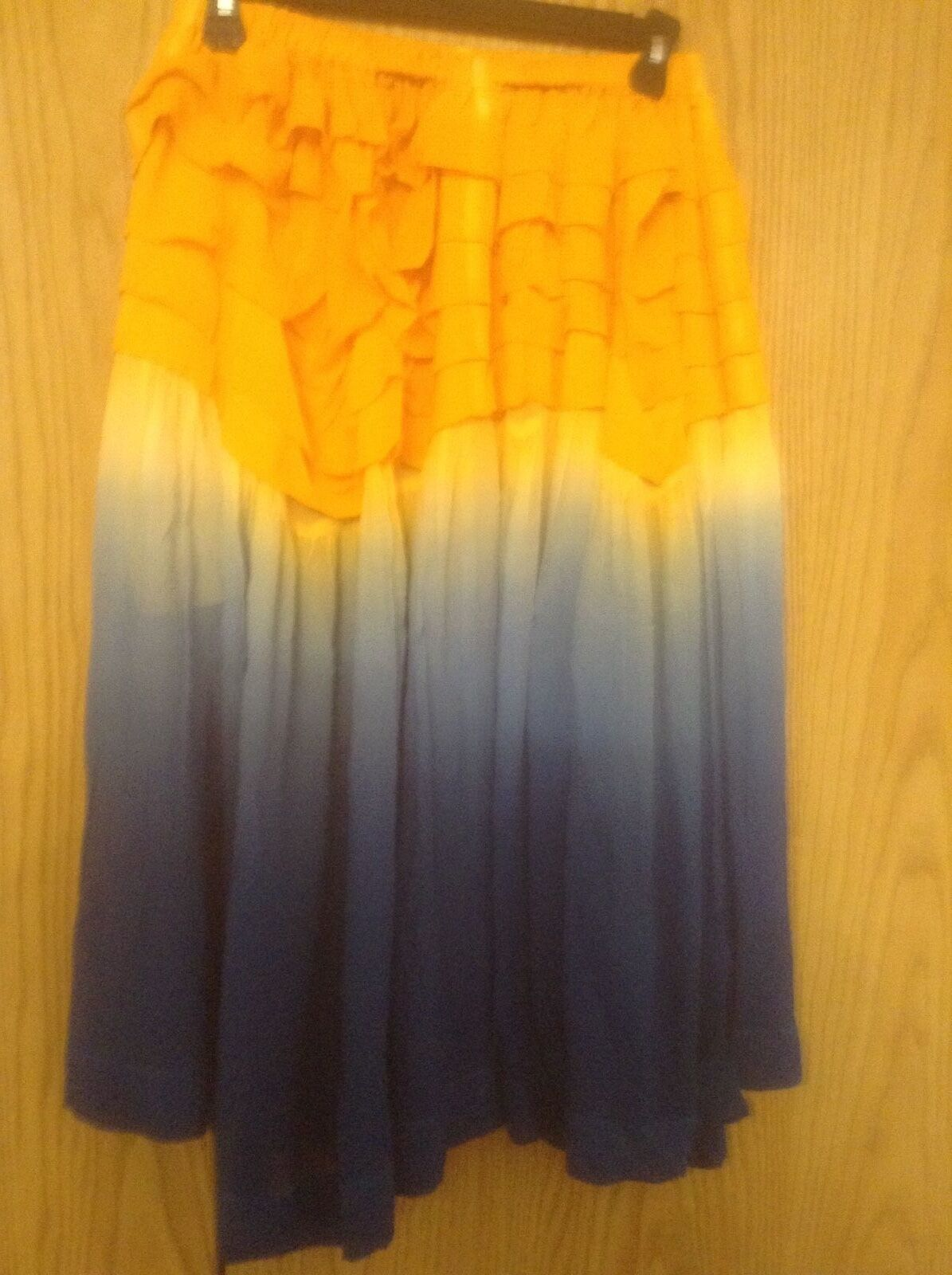 NWOT LIMI feu SKIRT FLARE RUCHED 100% SILK SIZE  SMALL COLOR YELLOW blueE HUES