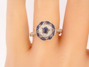 4Ct-Round-Cut-Blue-Sapphire-Diamond-Art-Deco-Engagement-Ring-18K-White-Gold-Over