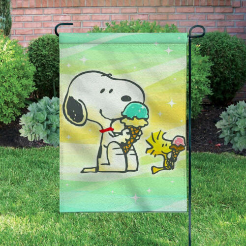 Outdoor Decor Ice Cream Lovely Snoopy 12X18 Inch Double-sided Garden Banner//Flag