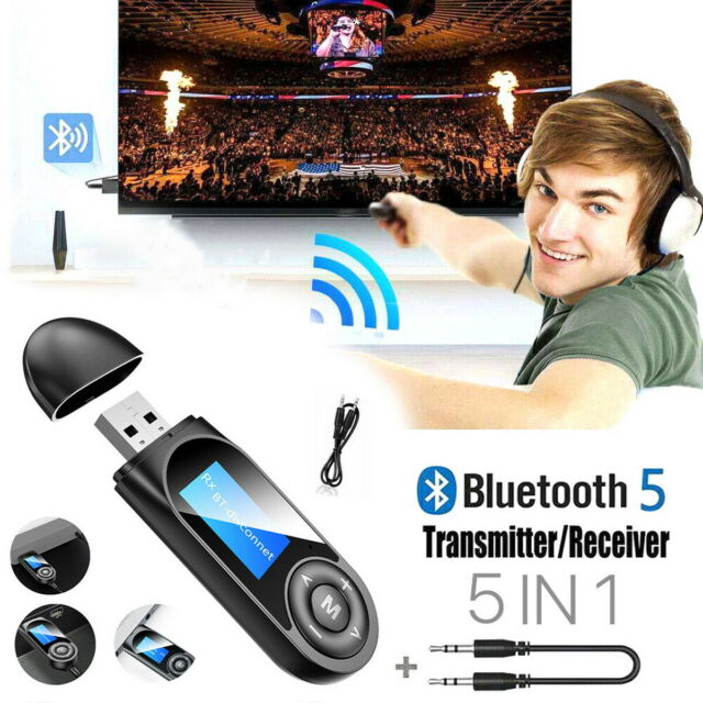 5 in1 Wireless Bluetooth 5.0 Audio HiFi Transmitter Receiver LCD For TV PC Car
